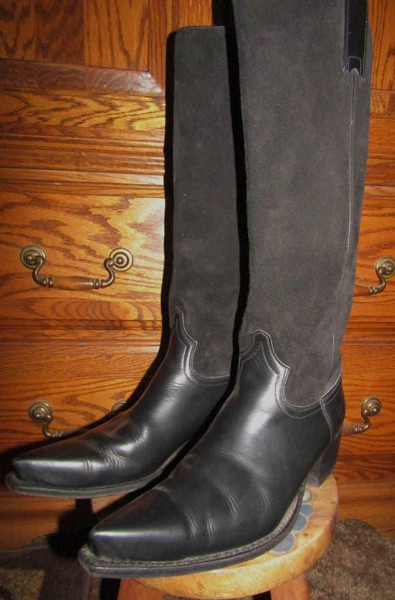 Frye ~ bottes noires ~ genou ~ ~ ~ Suède ~ cuir ~ Made in Spain ~ Vintage ~ recyclé ~ Hommes the ~ génial ~ femmes Taille Medium 11 | Service Supremacy  b4e8ac