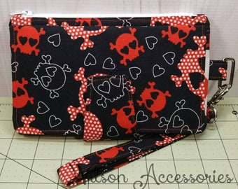 Skull and Hearts Vintage Pearl Wallet