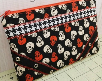 Skulls Zippered Patchwork Pouch