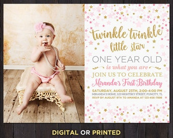 First birthday invitation etsy twinkle twinkle first birthday invite twinkle twinkle birthday invitation pink and gold first birthday invitation first birthday girl invite filmwisefo