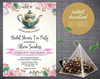 Bridal Shower Tea Party Invitation, Bridal Tea Party Invite, Bridal Shower Invitation, Instant Download, Editable Template, Printable, BS-01