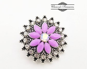 Mini Snap Chunk Button Flower Pink Petals Charm For Ginger Snap Style Jewelry /<
