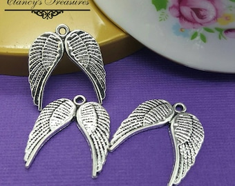 BULK Charms Angel Wing Charms Antiqued Silver 23mm 2 Double Wing Wholesale 50pc