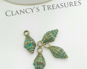 10pcs Verdigris Patina Mussel Conch Shell Charms Pendant DIY Jewelry Findings