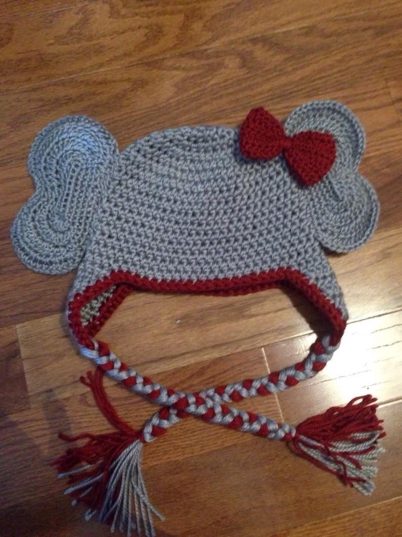 e87b7f7559e Elephant crochet hat with earflaps Crimson Tide inspired