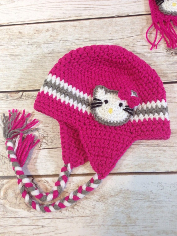 Hello Kitty Inspired Crocheted Hat Etsy