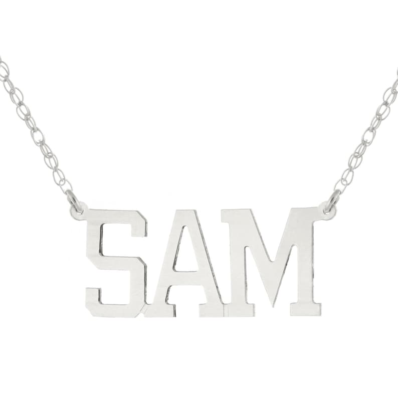 14k White Gold Clad 925 Sterling Silver Personalized Custom Made Any Nameplate Pendant Necklace