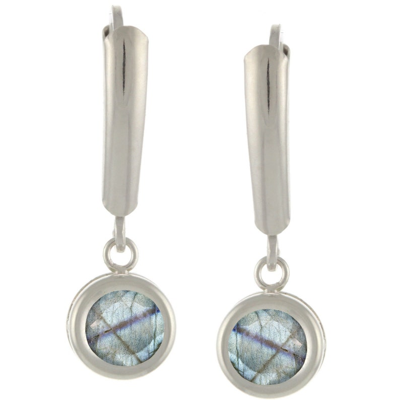 925 Sterling Silver Natural AAA 1.86ct Round Gemstones Guard Leverback Earrings