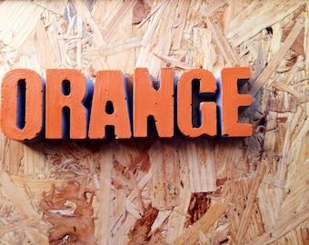 Orange Concrete Letters, Concrete Signage, Cement Letters, Personalised Letters, Concrete Paperweight, Wedding Decor,Concrete Gifts