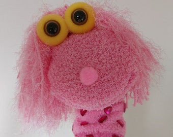 Soft Pink Hair Sock Puppet Girl, Handmade Sock Puppet with Facial Expressions, Legend Time Story, Theater Puppets Show, Sockenpuppe