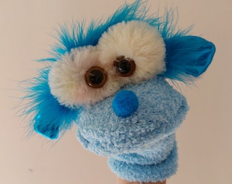 Professional Made Puppy Sock Puppet Movable Mouth Handmade Facial Expressions Glove Puppies For Children Kindergarten Hand Made