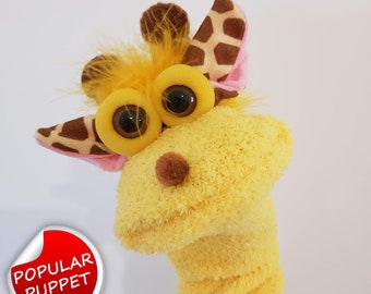 Professional Made Giraffe Short Sock Puppet TheaterPuppets Handmade Glove Dolls for Children Toy Facial Expressions Gifts For Rosh Hashana