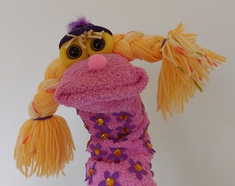 Funny Girl  Handmade Sock Puppet with a Hat, Long Sock Puppets, Christmas Gift For Toddlers Theatre Show For Stage Uniqe Christmas Gift