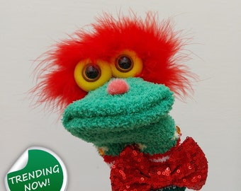 Red Hair Christmas Boy Sock Puppet With Glasses TheaterPuppets Professional Stage Ideas Kindergarten Cute Puppets Show Red Bow Tie