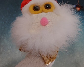 Santa Claus Hand Puppet, Chistmas PuppestSock Puppets, Kids Christmas gifts Unique X mas Gift Gold Boe Tie Santa Doll