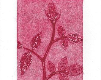Monoprint Art Card Red Rose No.2