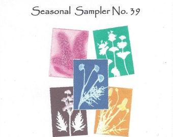 Seasonal Sampler No.39 Set of 5 Monoprint Notecards