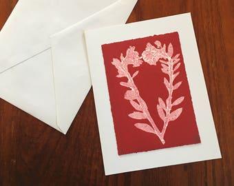 Monoprint Art Card Red Heart No.3