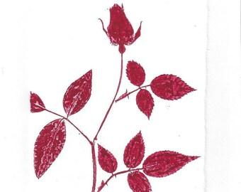 Monoprint Art Card Red Rose No.7