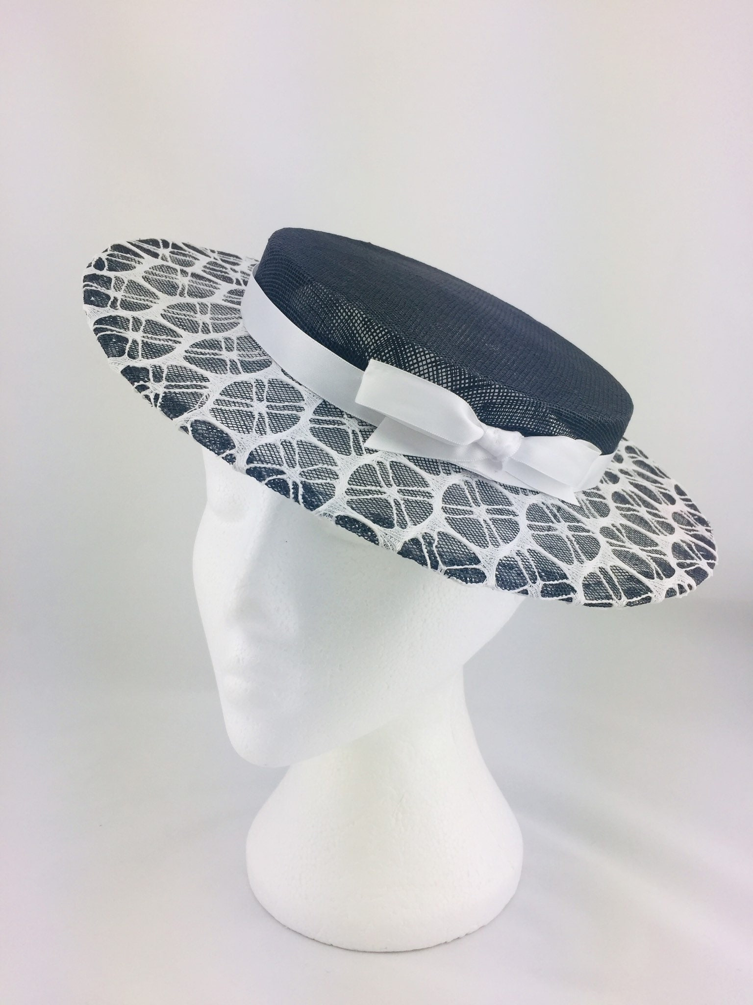 Black and white lace hat black and white boater lace hat  185182c67b7