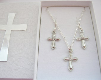 Girls Cross Necklace and Earrings Set for First Holy Communion or Confirmation Children's Christian Jewellery Easter Gifts Religious Jewelry