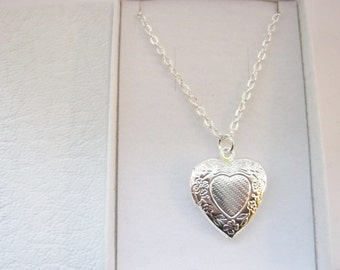 Girls Heart Locket Necklace on Silver Plated Chain, Girls Locket Pendant, Kids Girls Stocking Stuffers Fillers Necklaces Childrens Jewellery