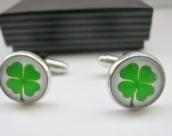 "Irish Cufflinks Four Leaf Clover 14mm (1/2"") St Patrick's Day Shamrock Irish Cuff Links Mens, Boys Groomsmen Cuff Links, Irish Jewelry Gifts"