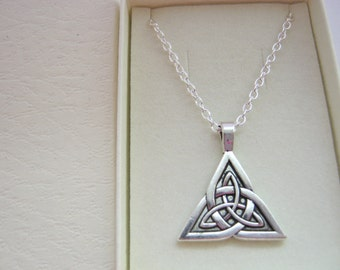 Celtic Triquetra Trinity Pendant Necklace  on Silver Plated Chain Holy Trinity Christian Jewellery, Pagan Wiccan Triple Goddess Jewelry