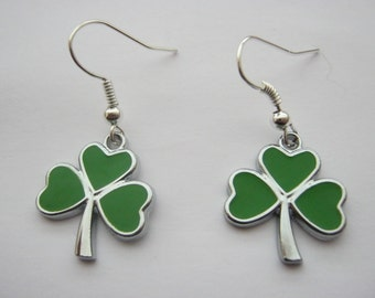 St Patricks Day Earrings Irish Shamrocks on Silver Plated Drop Earring Wire Hooks  Nickel Free Paddy's Day Jewelry