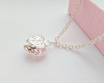 Small Heart Necklace Pendant, Kids Jewellery, Flower Girls Necklaces, Child Pendant Jewellery Gifts, Christmas Stocking Stuffers Fillers