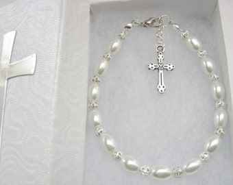 First Holy Communion Bracelet White Pearls with Chalice and Cross Charms Christian Girls Religious Jewelry Gifts