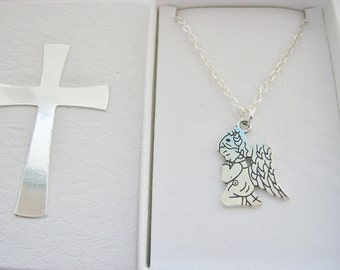 Child Angel Necklace on Silver Plated Chain First Holy Communion Gifts Girls Religious Jewelry Gift