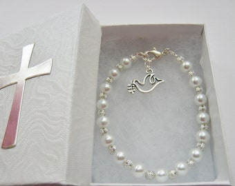 Holy Confirmation Girls Bracelet White Glass Pearl Beads with Dove or Cross Charm Religious Jewelry Gift