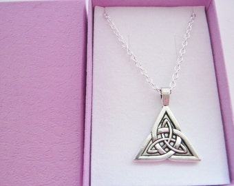 Celtic Necklace Triquetra Trinity Pendant Silver Plated Chain Celtic Cross Pagan Wiccan Triple Goddess, Holy Trinity Christian Jewellery