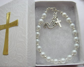 Girls Confirmation Bracelets Dove Cross Charm Holy Confirmation Religious Jewellery Gifts