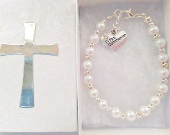 First Communion Bracelet, Holy Communion Gifts,  White Pearl Bead Bracelet, Girls Religious Christian Jewellery Confirmation  Baptism Gifts