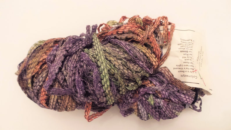 Cherry Tree Hill CASHCOTT Silky Bulky Checkerboard Ribbon Yarn in Martha's  Vineyard (Purple, Orange, Green  Blue +) Vegan