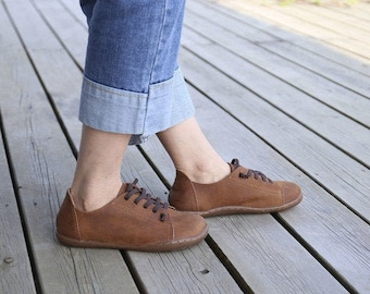 Handmade Women Shoes, Soft Oxford Shoes, Flat Shoes, Retro Leather Shoes, Casual Shoes, Slip Ons, Loafers
