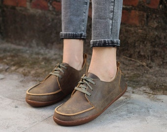 Handmade Women's Leather Shoes,Oxford Women Retro Style Shoes, Flat Shoes, Casual Shoes,couple shoes, shoes for lovers