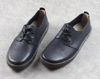 Handmade Black Men's Leather Shoes,Oxford men Shoes, Flat Shoes, Casual Shoes