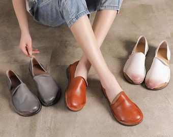 3 Colors! Women Leather Soft Sole Shoes, Flat Leather Shoes, Soft Oxford Shoes,Slip Ons
