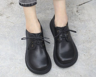 Hot!Handmade Leather Shoes for Women,Oxford Retro Wide Shoes,Personal Style Flat Simple Tie Shoes