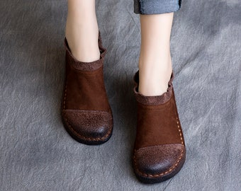Handmade Women Brown Flat Leather Shoes,Comfortable Oxford Shoes, Soft Leather Shoes,Casual Shoes, Slip Ons, Loafers