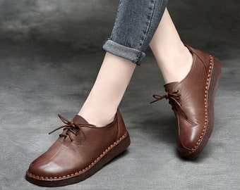 962209839e Handmade Shoes,Oxford Women Shoes, Flat Shoes, Retro Leather Shoes, Casual  Shoes, Spring Shoes,Autumn Shoes,Free Shipping