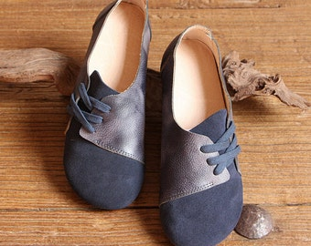 Handmade Women Shoes,Dark Blue Oxford Shoes, Flat Shoes, Retro Leather Shoes, Casual Shoes, Slip Ons, Loafers