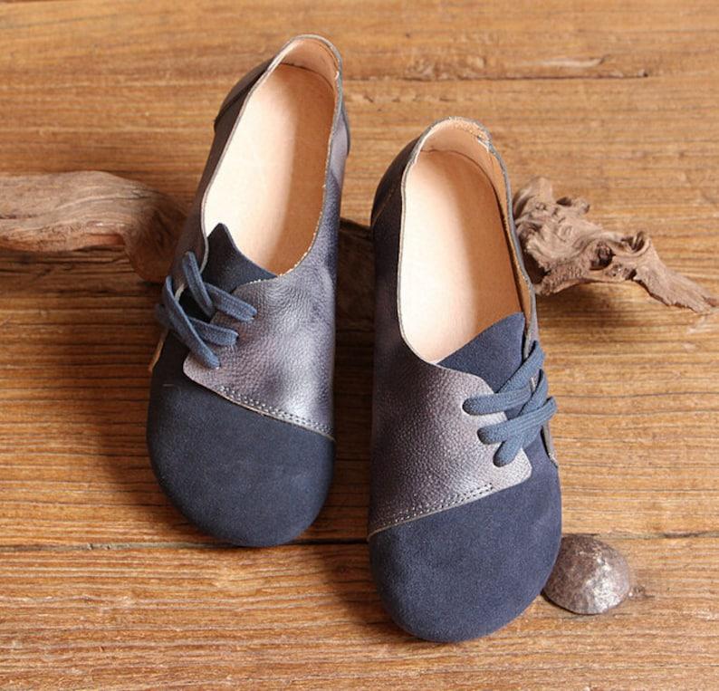 b7c8586037f5 Handmade Women ShoesDark Blue Oxford Shoes Flat Shoes Retro