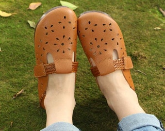 Handmade Women Leather Shoes, Flat Slip-ons, Loafers, Casual Shoes, Soft Shoes, Summer Shoes,For mom gift