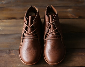 Handmade Brown Shoes for Women,Ankle Boots,Flat Shoes, Retro Leather Shoes, Oxford Shoes, Short Booties