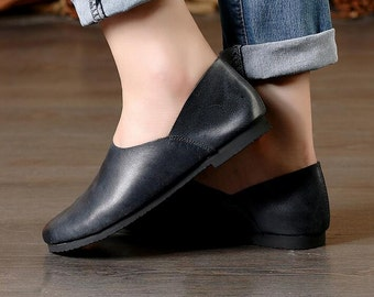 2 Colors! Handmade Soft Leather Flat Shoes,Oxford Women Shoes, Flat Shoes, Slip-ons, Loafers, Ballet Shoes,Black Shoes, Gray Shoes