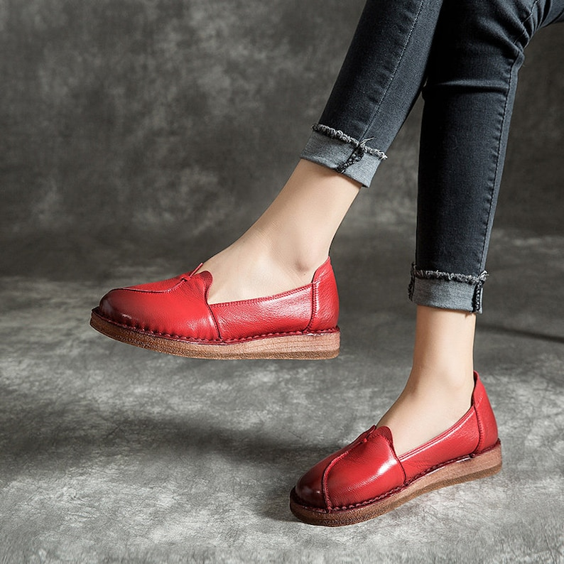 Handmade Soft Leather Shoes for Women,Oxford Mom/'s Shoes Flat Shoes Slip Ons Pregnant Leather Shoes